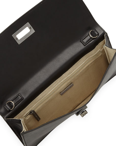 Snake-Embossed Turn-Lock Clutch Bag, White/Black