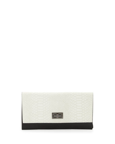 Snake-Embossed Turn-Lock Clutch Bag, White/Black