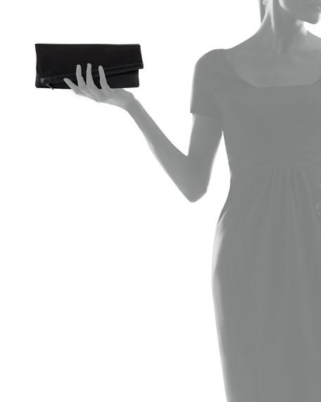 Asymmetric Mesh Fold-Over Clutch Bag, Black