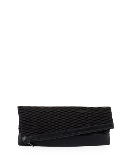 BCBGMAXAZRIA Asymmetric Mesh Fold-Over Clutch Bag, Black
