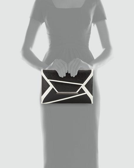 Embossed Geometric Envelope Clutch Bag, Black