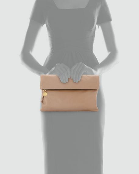 Maison Leather Fold-Over Clutch Bag, Blush