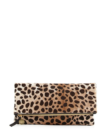 Supreme Leopard-Print Fold-Over Clutch Bag