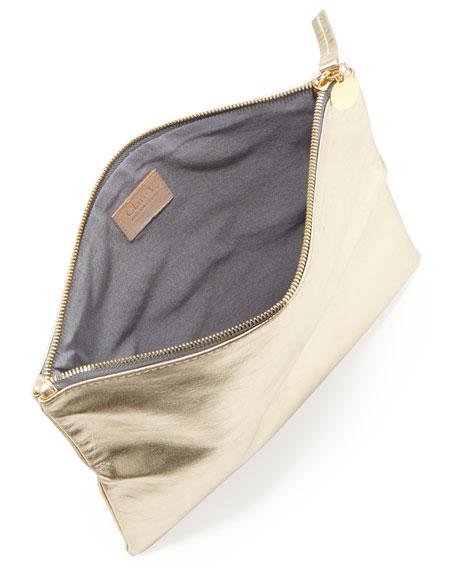 Maison Metallic Fold-Over Clutch Bag, Gold