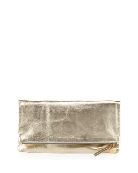 Maison Metallic Fold-Over Clutch Bag, Gold