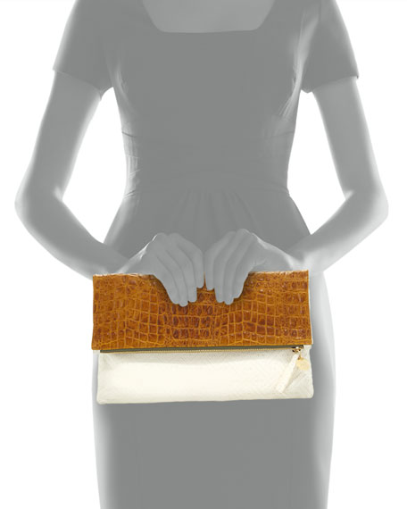 Croc-Embossed & Woven Leather Fold-Over Clutch Bag, Yellow/Cream
