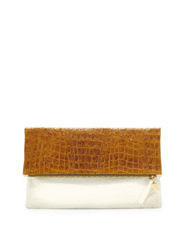 Clare Vivier Croc-Embossed & Woven Leather Fold-Over Clutch Bag, Yellow/Cream
