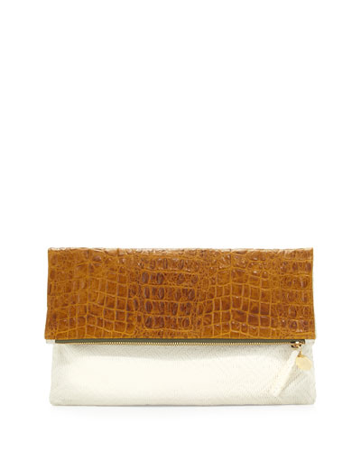 Clare V. Croc-Embossed & Woven Leather Fold-Over Clutch Bag, Yellow/Cream
