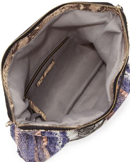 Banker's Snake-Print Fold-Over Clutch Bag