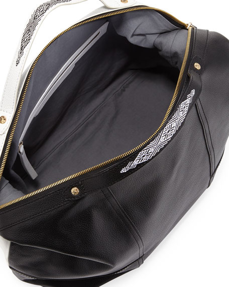 Taltha Leather Satchel Bag, Black/White