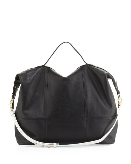 Taltha Leather Satchel Bag, Black/White