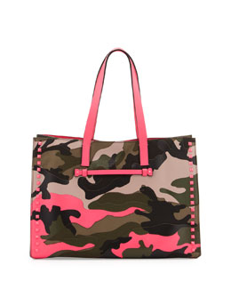 Valentino Camouflage Medium Soft Square Tote Bag, Neon