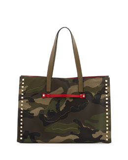 Valentino Camouflage Medium Soft Square Tote Bag