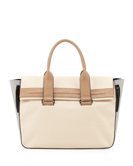 Multi-Texture Colorblock Tote Bag, Oatmeal