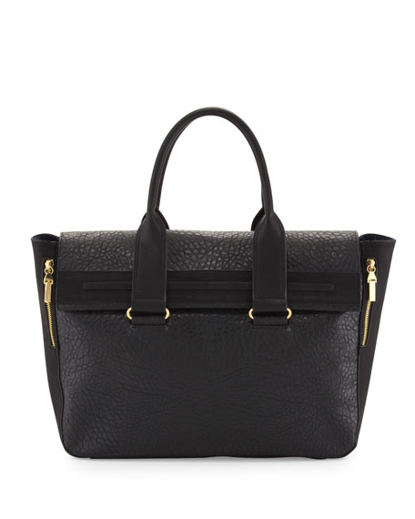 Multi-Texture Tote Bag, Black