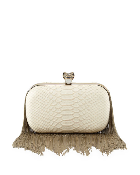 Jude Chain-Fringe Clutch Bag, White