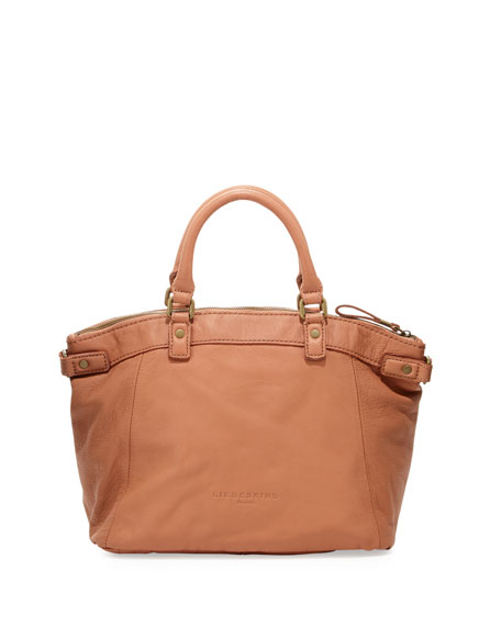 Ginny Leather Satchel Bag, Caramel