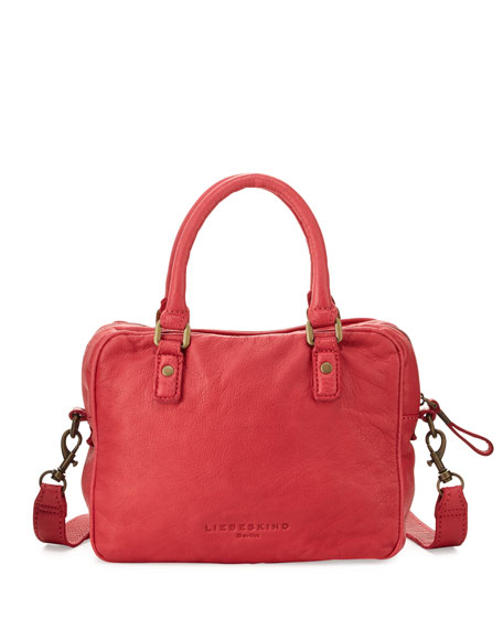 Miley Leather Satchel Bag, Watermelon