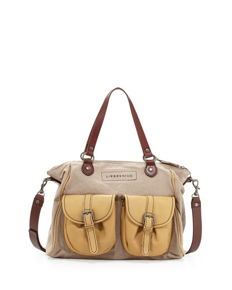 Lauryn Canvas Leather Tote, Yellow