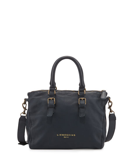 Liselotte Tumbled Leather Satchel Bag, Navy