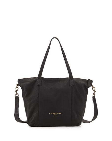 Kaethe Tumbled Leather Tote Bag, Black