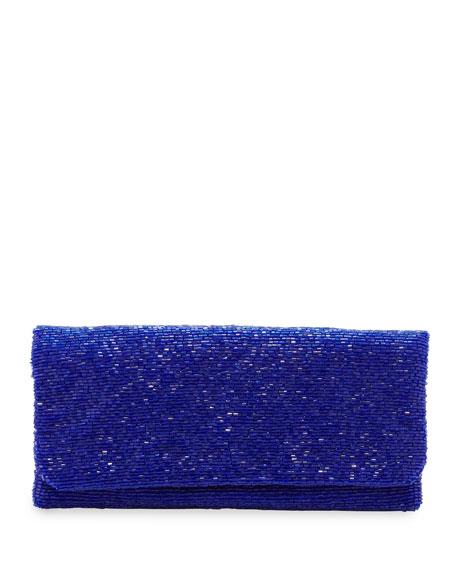 Beaded Flap-Top Clutch Bag, Royal