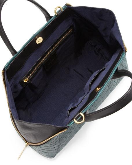 Yves Crocodile Embossed Leather Tote Bag, Jade