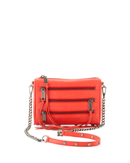 Five-Zip Mini Crossbody Bag, Hot Red