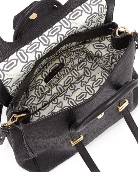 Jules Pebbled Leather Satchel Bag, Black