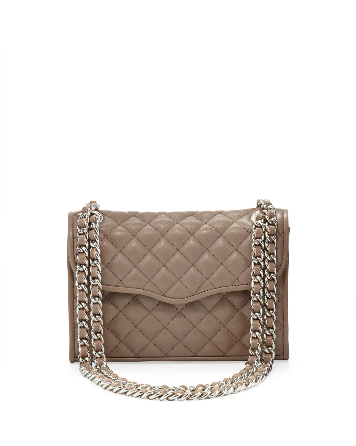Affair Quilted Mini Shoulder Bag, Taupe