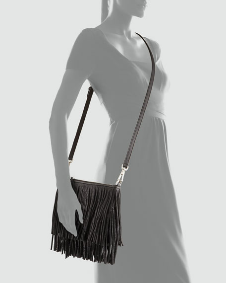 Finn Fringe Crossbody Bag, Black