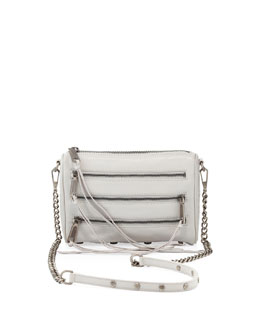 Rebecca Minkoff Five-Zip Mini Crossbody Bag, Pale Gray