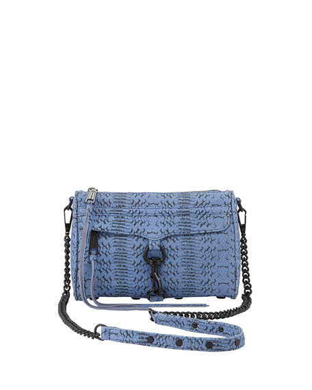 Snake-Print Mini Mac Crossbody Bag, Twilight Sky