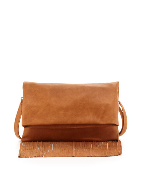 Fringe Fold-Over Clutch, Tan