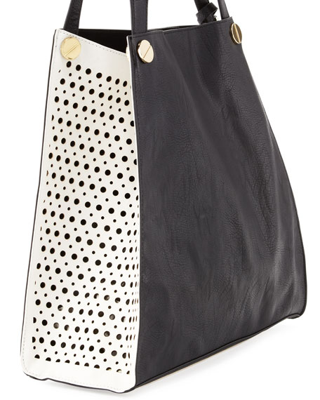 Wonder Dots Two-Tone Perforated Tote Bag, Black/White