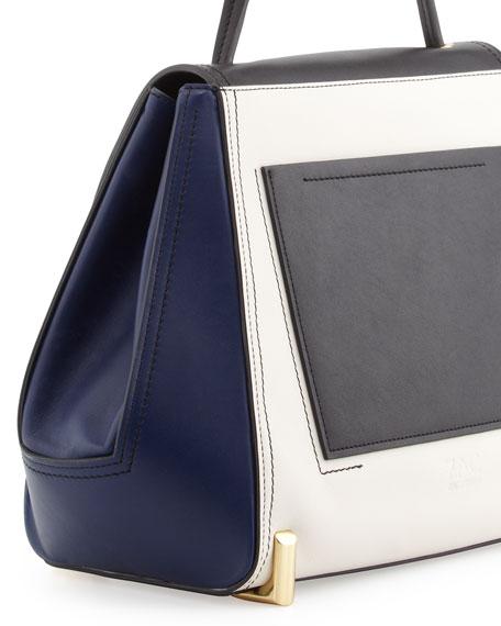 Sistine Colorblock Top-Handle Bag, Black/Pearl/Navy