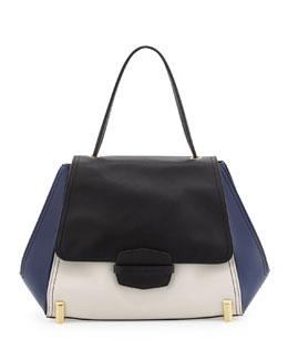 Z Spoke Zac Posen Sistine Colorblock Top-Handle Bag, Black/Pearl/Navy