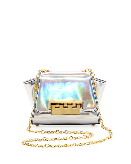 Eartha Mini Holographic Crossbody Bag, Silver