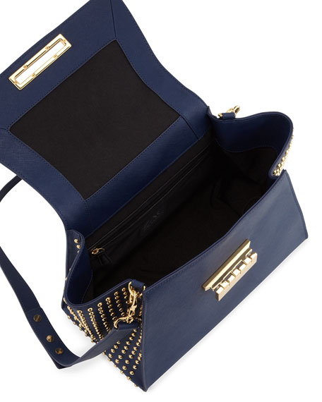 Studded Saffiano Eartha Flap Satchel, Navy