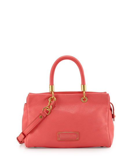 Too Hot to Handle Zip Satchel Bag, Bright Coral