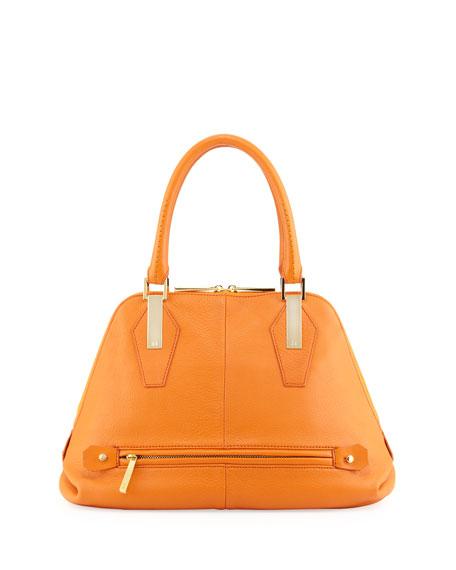 Beverly Leather Satchel Bag, Tangerine