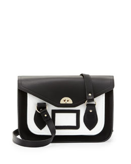 Cambridge Satchel Company Bicolor Leather Shoulder Bag, Black/White