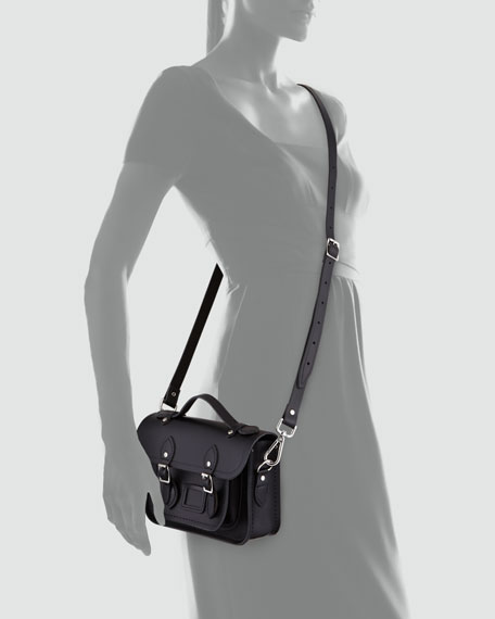 Classic Mini Leather Satchel Bag, Black
