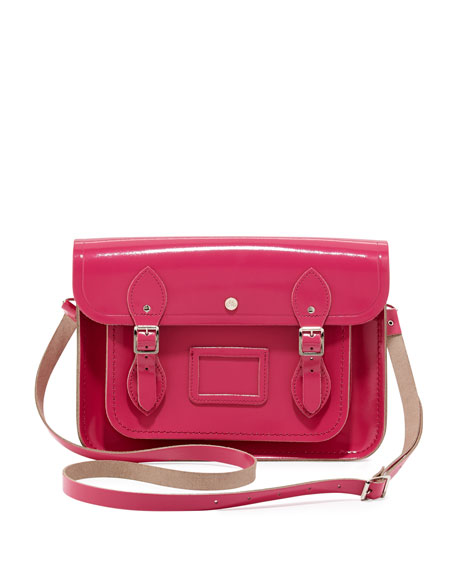 "13"" Patent Leather Satchel, Orchid Fuchsia"