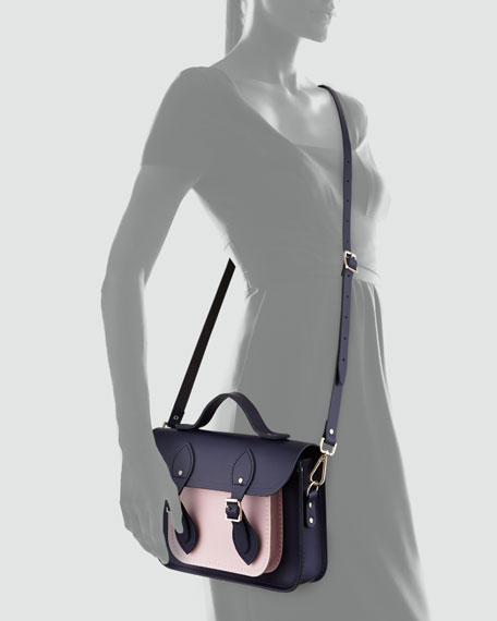 "Cambridge Satchel Company 11"" Bicolor Satchel Bag, Navy/Peach Pink"