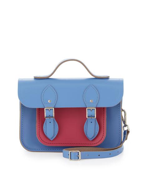 """11"""" Bicolor Satchel Bag, Bellflower Blue/Orchid"""