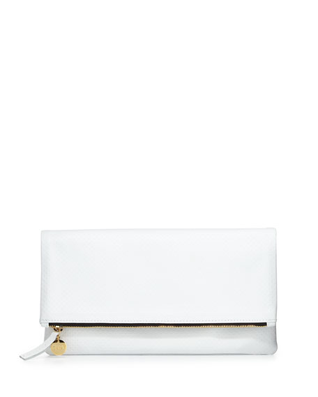 Clare V. Maison Semi-Perforated Fold-Over Clutch Bag, White