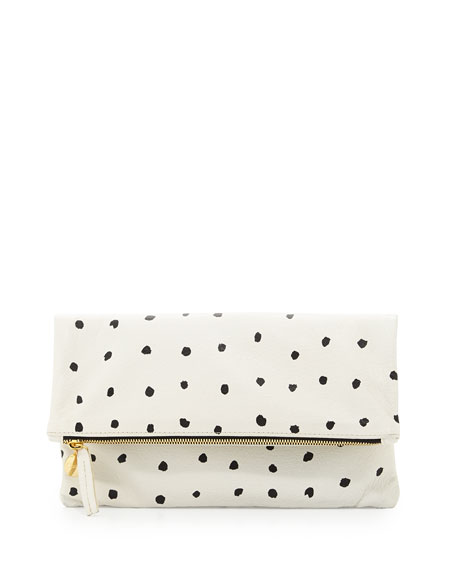 Supreme Spotted Fold-Over Clutch Bag, White/Black