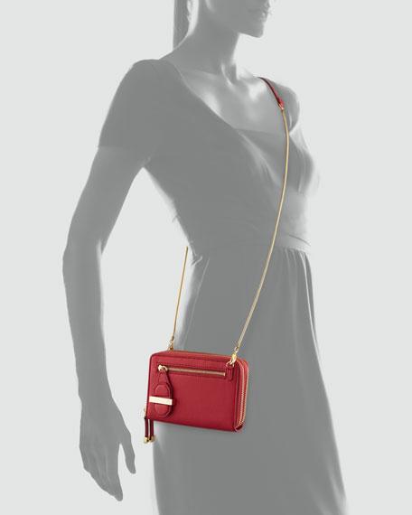 Mini Double Zippy Crossbody Bag, Fuchsia