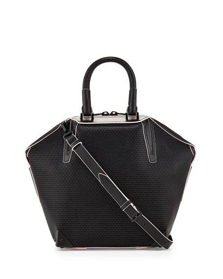Emile 3D Mesh Leather Satchel Bag, Black